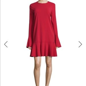 Theory long sleeve dress in red